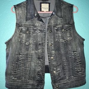 Vintage Gray Denim Vest
